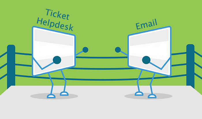 boxing ring comparison of email vs helpdesk