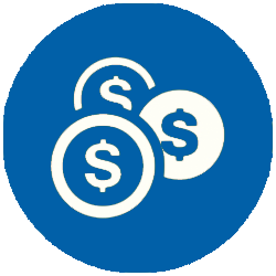 round circle icon dollar - helpdesk